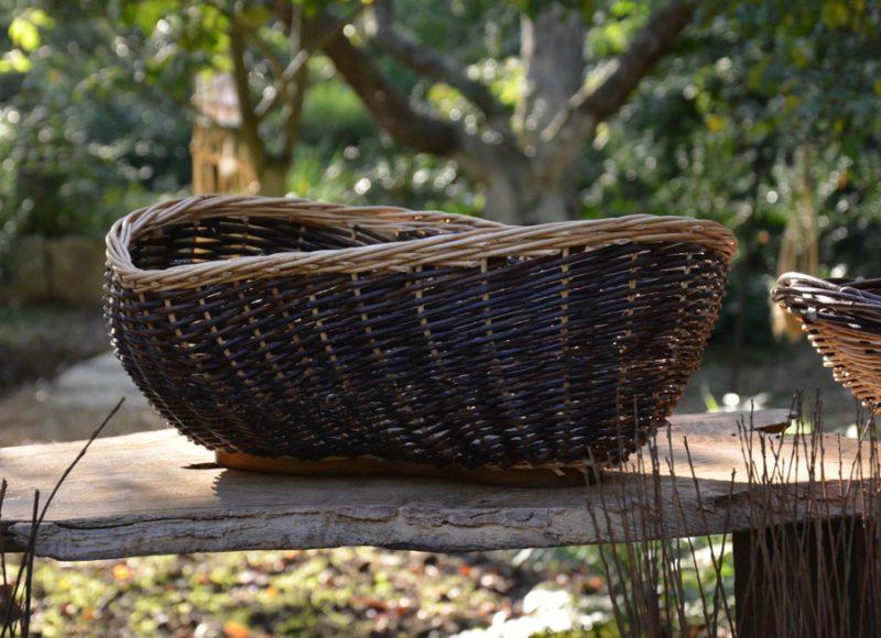 corbeille organique osier et bois